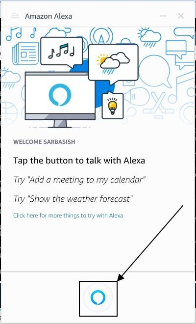 Amazon Alexa on the Windows taskbar