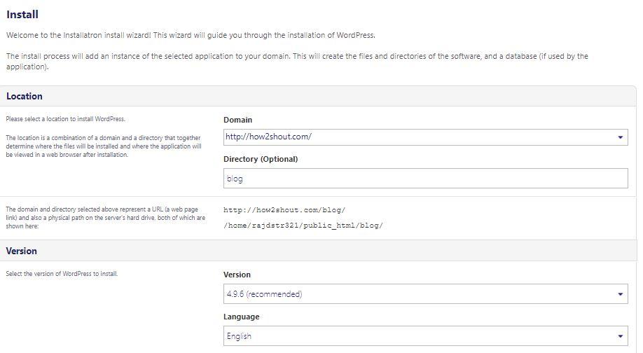 DOmain for cpanel wordpress install