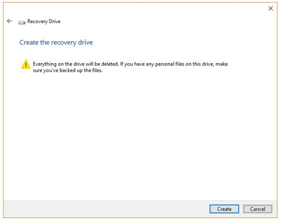 Erase the USB drive to create recovery