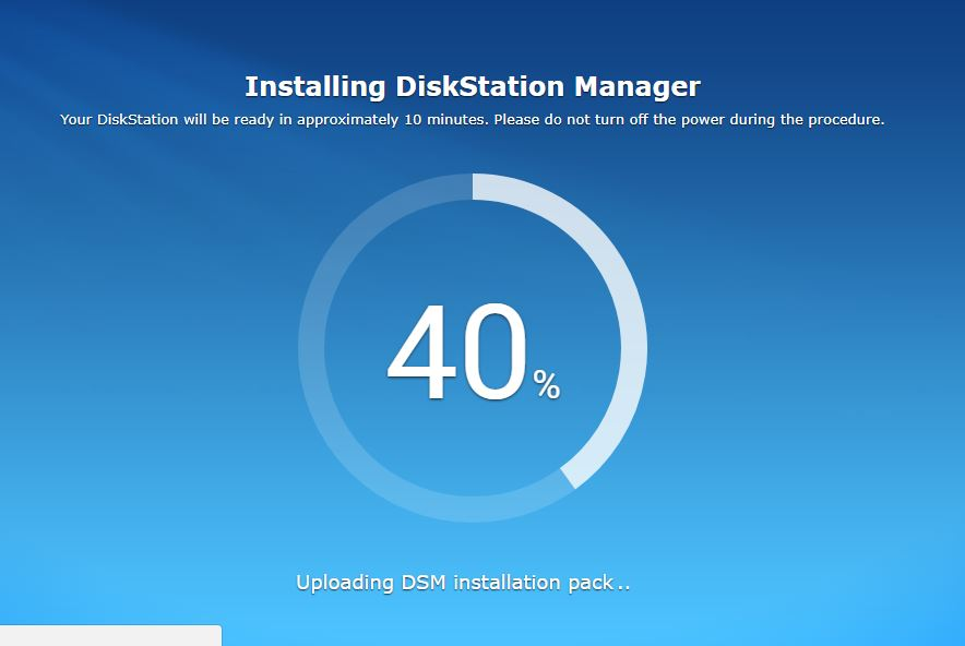 NAS starts installing the Disk manger