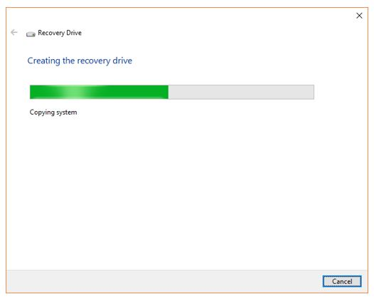 Process of creating Windows 10 USB recovery