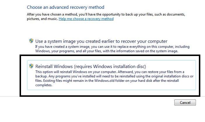 Reinstall windows using disc