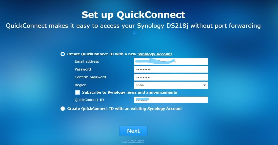 Synology Quickconnect ID accoutn setup