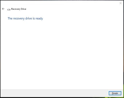 Windows 10 Recovery drive is ready