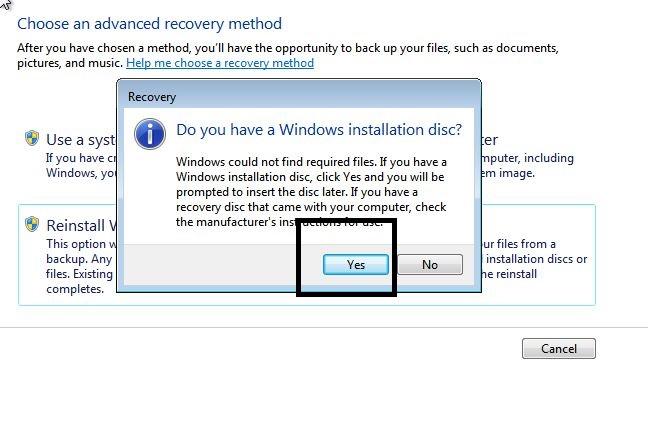 Windows installation disc