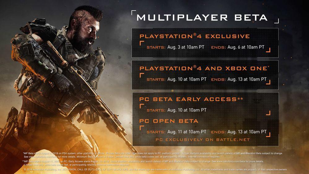 black ops 4 beta gameplay testing dates