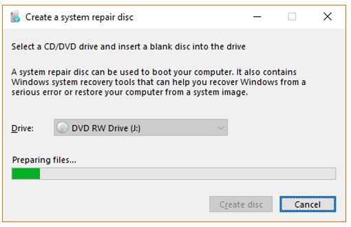 click on Create disc button to start system reapir disk burning