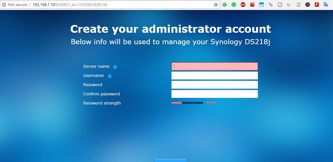 create server adiminstrator account