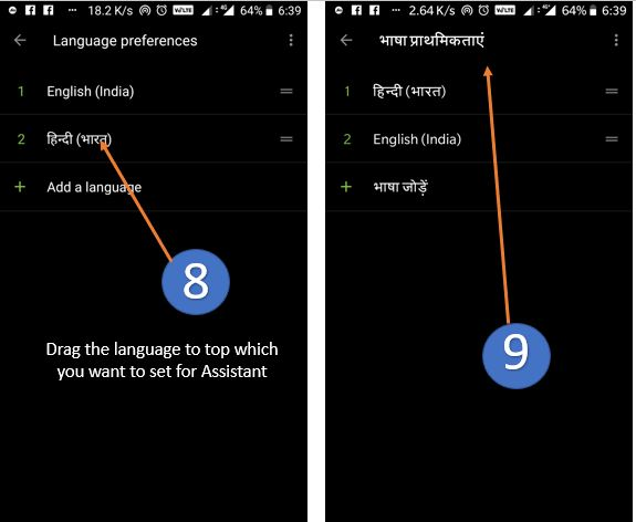 set google assistant language english to hindi