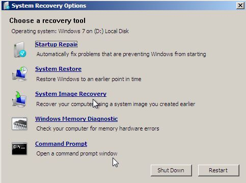 system recovery tool options