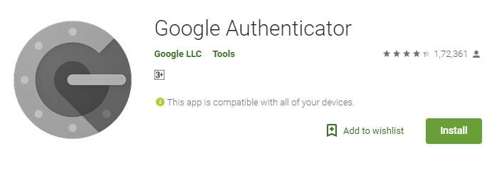 Google Authenticator from the Google Play Store