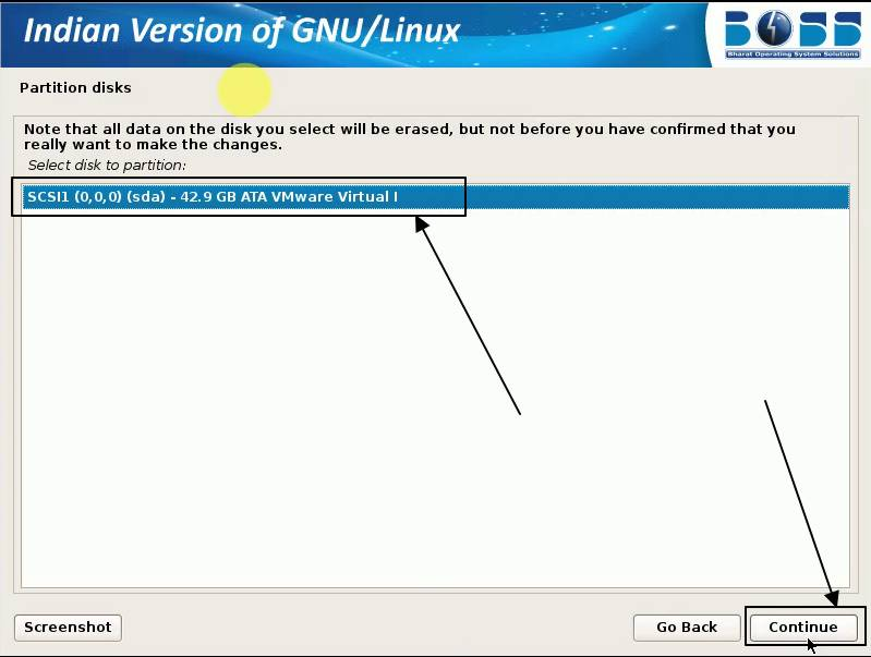 choose the disk for installation