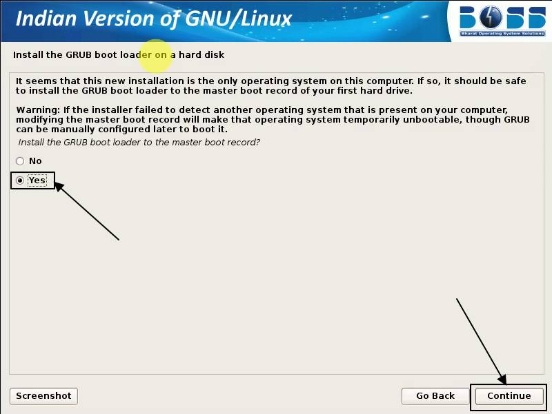 install the GRUB boot loader