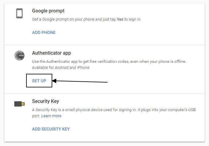 Get the Google Authenticatore Key