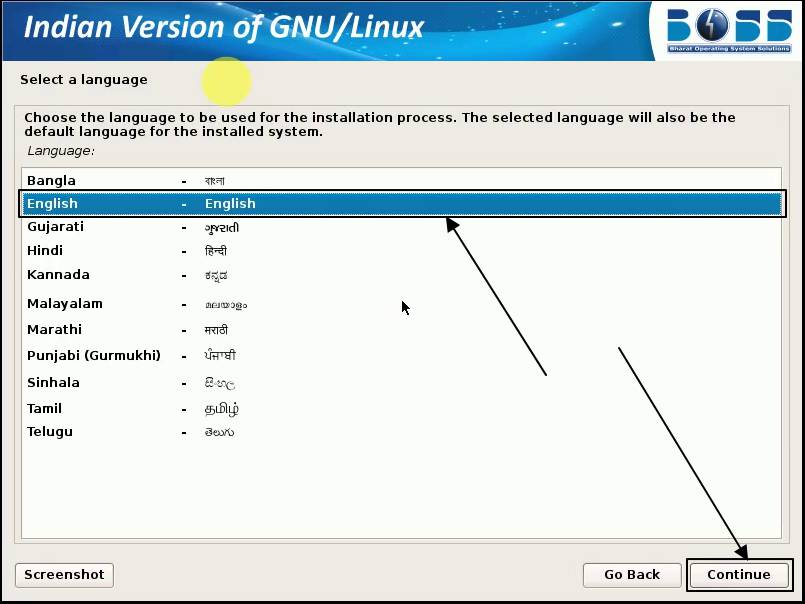 choose the language for installation