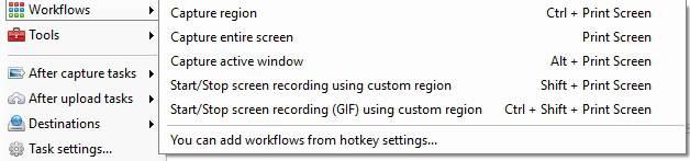 ShareX Workflows feature