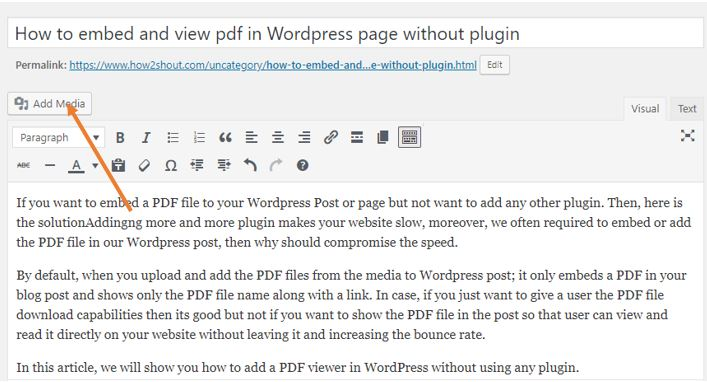 Add media PDF file
