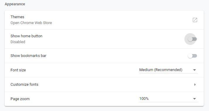 Apperance Google Chrome