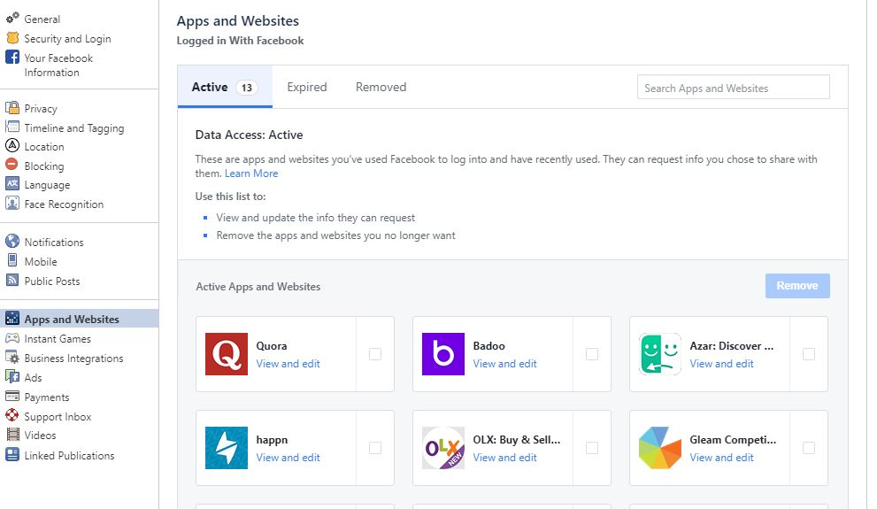 Apps and websites remove facebook