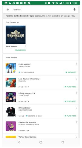 Fortnite absense on Google Play