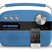 Saregama Carvaan Song list blue color with remote