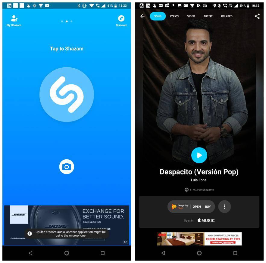 Shazam music recognition