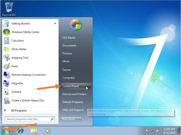 WIndow 7 control panel to change the account password