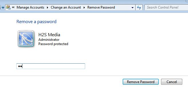 Windows account remove password