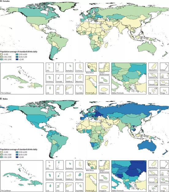 map of the average alcohol intake of women (above) and men (below)