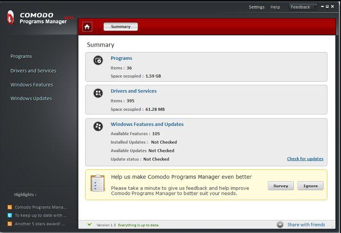Comodo Programs Manager uninstaller software for Windows