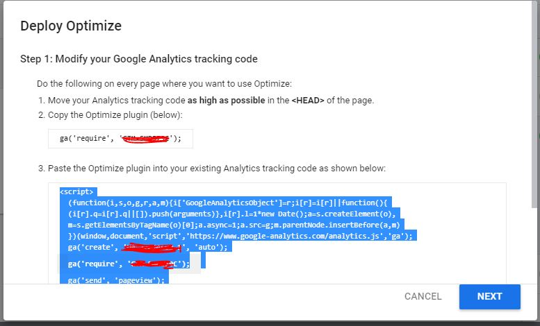 Deploy optimization Modify your Google Analytics tracking code