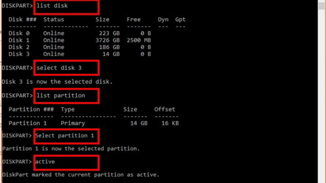 How to create active partition in Windows 10,8,7 & XP via