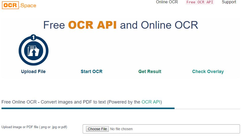 Free OCR API and Online OCR