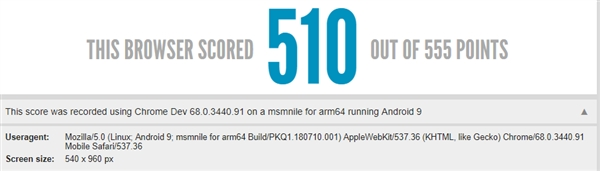 Html5 test score Snapdaragon 855