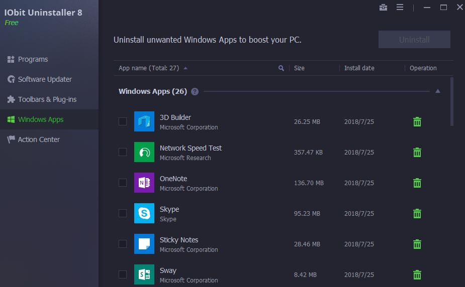IObit Uninstallerf\ best free software windows 10