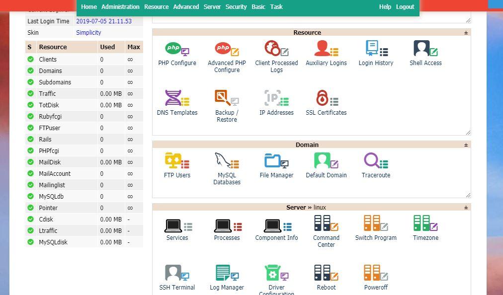Kloxo open source centos web control panel