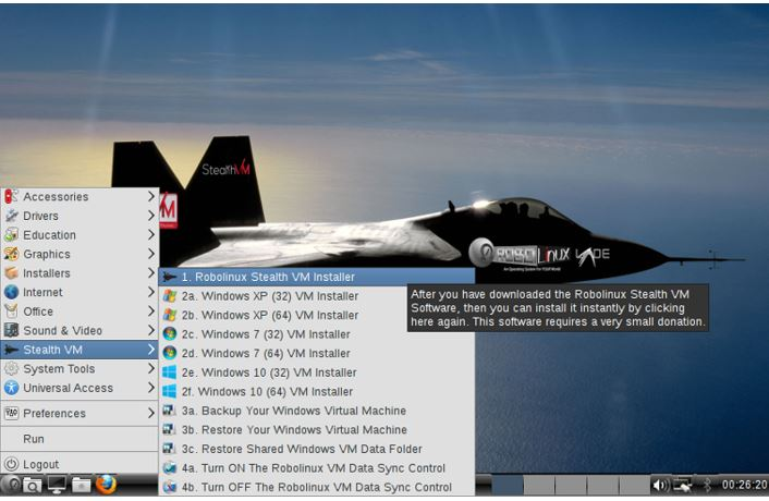 Robolinux, windows stealth-vm-installer