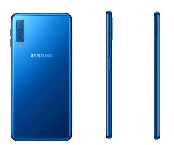 Samsung Galaxy A7 2018 blue color backside