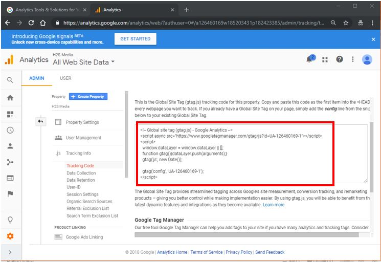 copy the tracking code from the Google analytics