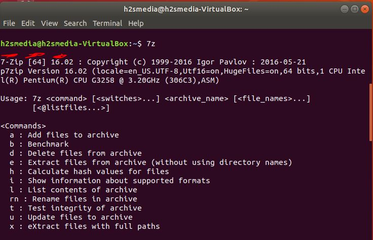 7-zip installed on Ubuntu check