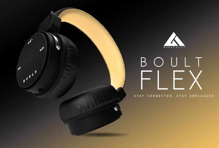 Boult Audio Flex bluetooth wireless on-ear stereo headphones with Mic