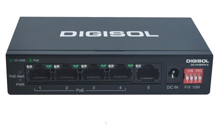 DG-FS1005PH-A with 4 PoE Ports & 1 Uplink port