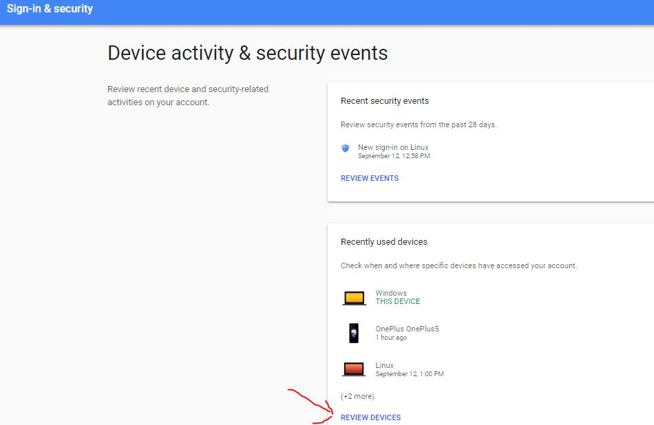 Device activity & security events