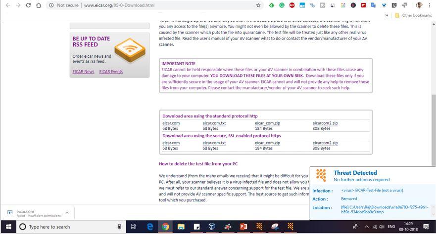 Perfromace test of the Reve Antivirus