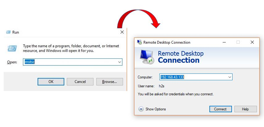 Run command box to access the remote desktop connection