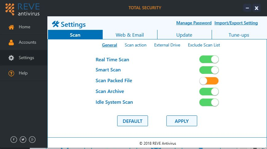 Scan options Reve antivirus