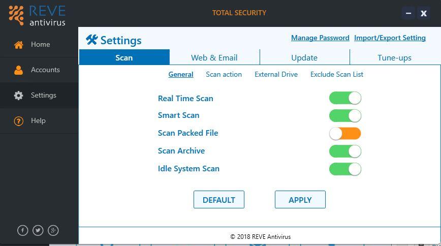 Scan options Reve antivirus