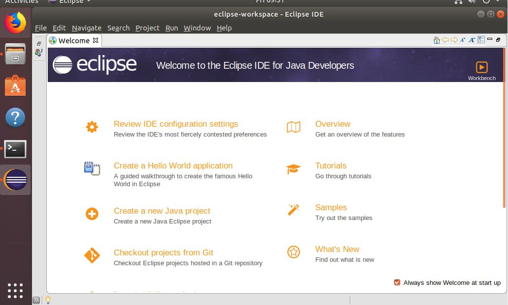 Successfully installed Eclipse IDE Linux Ubuntu