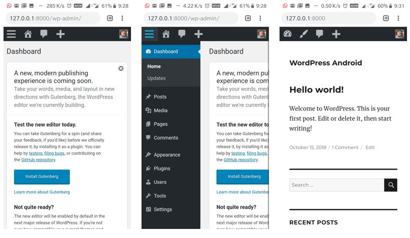 WordPress succesfully installed on the Android APache web server using ksweb