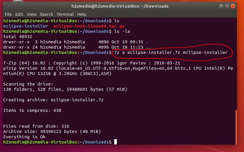 ubuntu 7zip command line